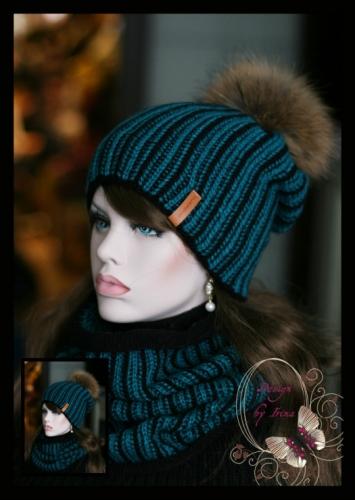 Вязаный комплект Гретта(зима)мор.волна с помпоном из натурального меха енота..