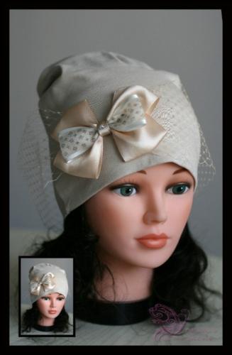 Удл. шапка с вуалью И БАНТОМ (беж)