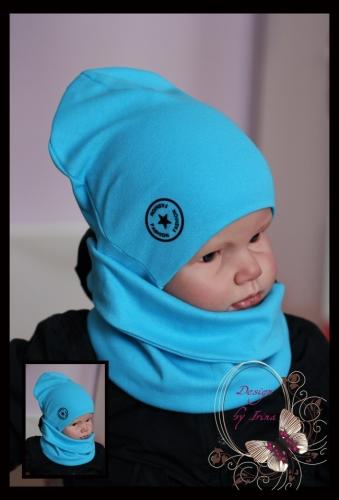Удл. шапка для мальчика «Звездный фэшн» (бирюза)