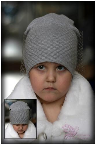 Удл. шапка с вуалью (серая)