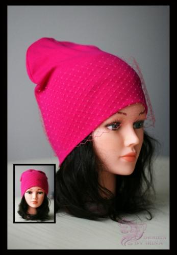 Удл. шапка с вуалью (малиновая)
