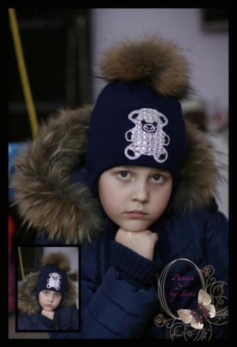 Вязаная шапка для девочки «BEAR»(темно-синий)