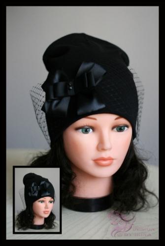 Удл. шапка с вуалью И БАНТОМ (черн)