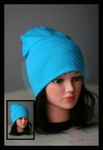Удл. шапка с вуалью (бирюзовая)