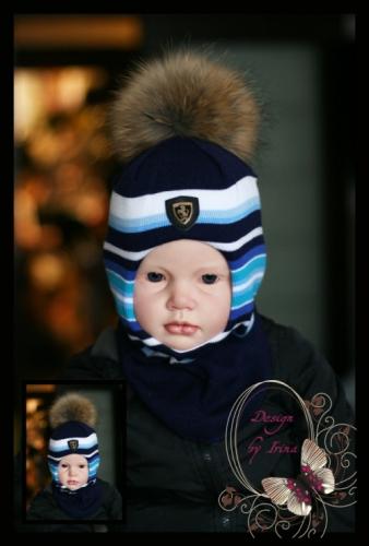 Шлемик для мальчика «Полосатик»(син/голуб)