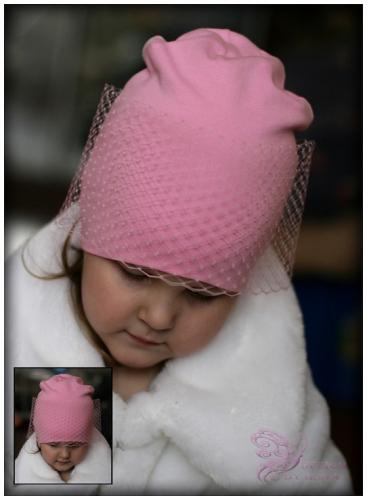 Удл. шапка с вуалью (розовая)