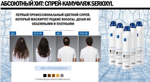 СЕРИОКСИЛ Спрей-камуфляж для объема и уплотнения тонких волос оттенок 200мл  (Тон указываем !!!)