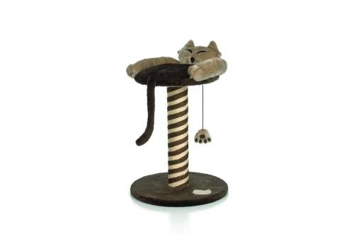 **Beeztees 408742 Когтеточка-столбик Ленивый Кот с полочкой, беж-коричневая  40*40*50см
