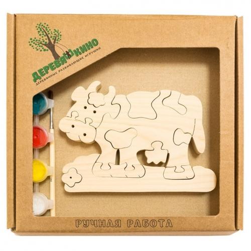 Развивающая игрушка Коровка с ромашкой с красками 654