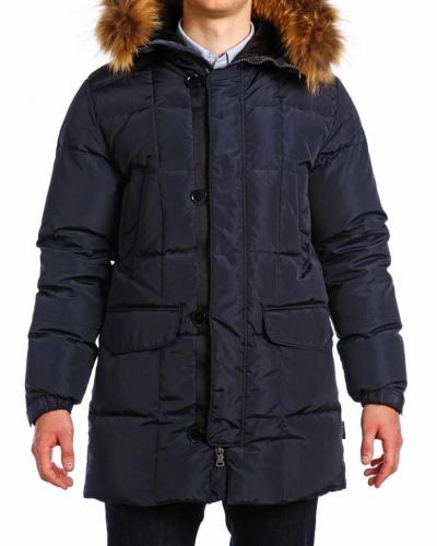 Куртка пуховая удлиненная 17414 NAvy