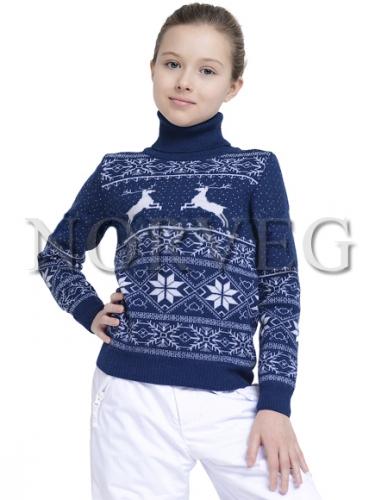 594p.2450p. Sweater Jaquard Wool Свитер детский цвет белый с голубым орнаментом